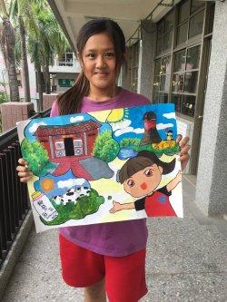 柳營國中九年級黃O真同學榮獲柳營區公所2018繪畫比賽國中組第一名